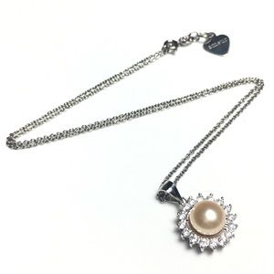 925 Silver Pendant Peach Pearl CZ Crystal Necklace